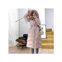 高級毛皮の襟のジャケットの女性の90%ホワイトダウンコートロングスリムパーカーフード付きダック生き抜く、ピンク、Sを温めます
