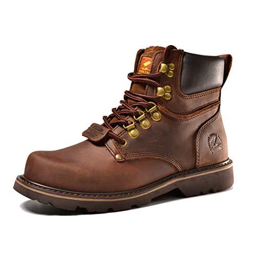 [URNICE] Z.SUO ショートブーツ メンズ レザー ハイカット エンジニアブーツ 本革 マウンテンブーツ アウトドア 牛革靴 ワークブーツ ブラウン 人気ブーツ 25cm