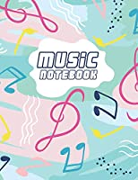 """Music Notebook: Manuscript Paper * Large (8.5"""" x 11"""") * 12 Stave * 100 Pages: Colorful Notes"""