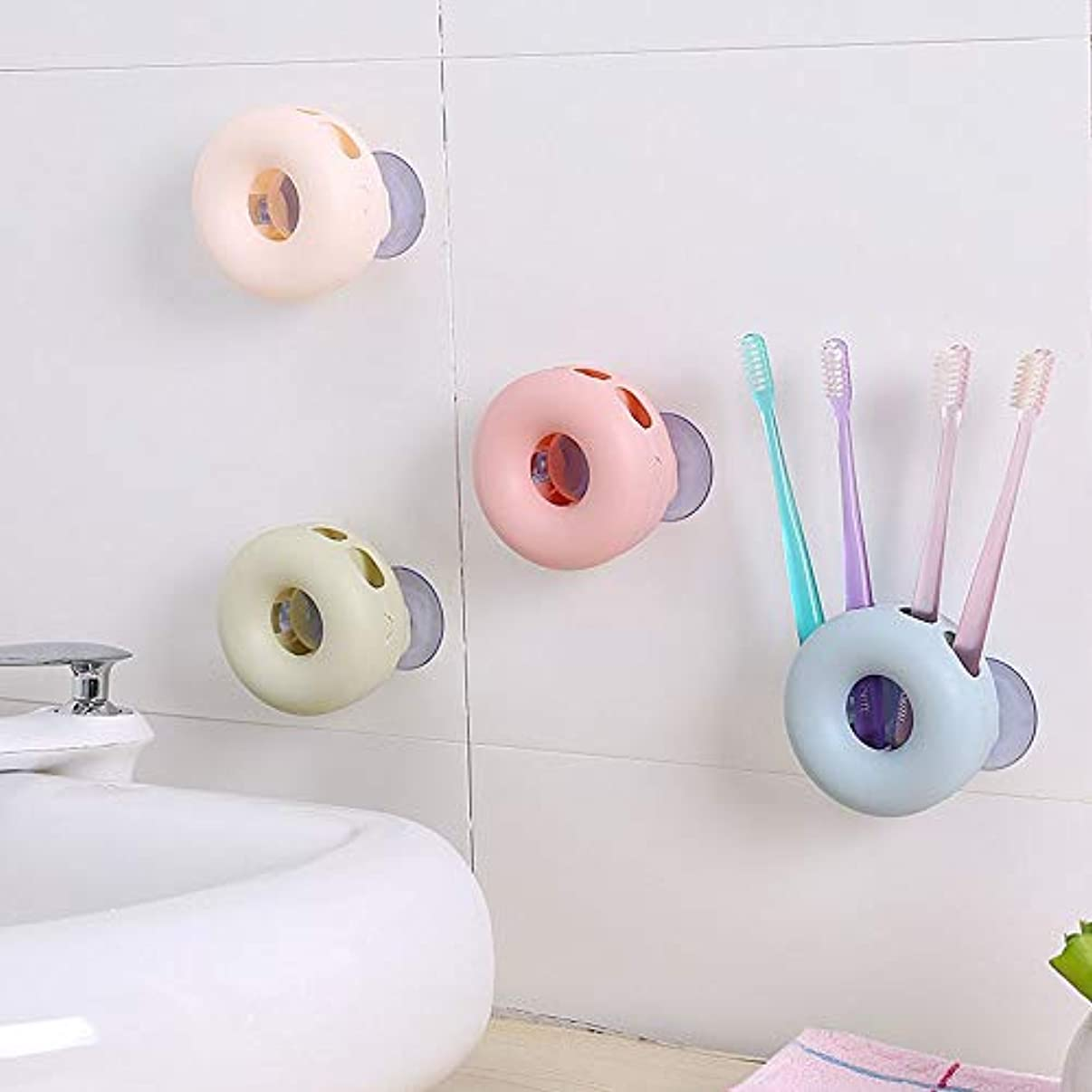 砂利偉業言語歯ブラシホルダー、 4個のランダムマルチカラーの壁は浴室ストレージ用の歯ブラシホルダーをマウント 浴室壁掛け歯ブラシキャディ (Color : Random, Size : 10x5cm)