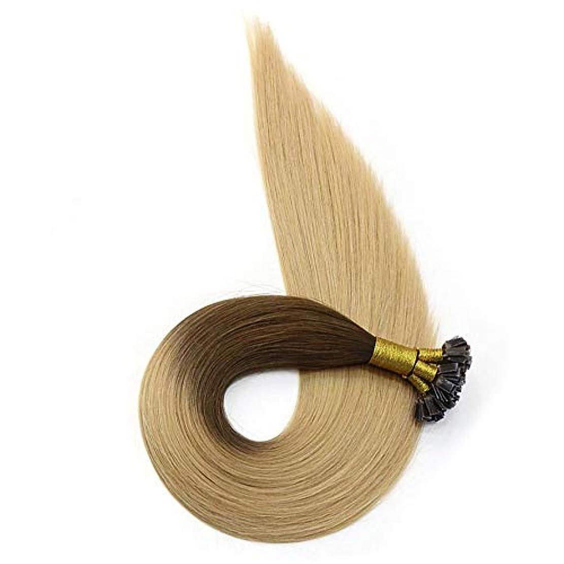 グレートオーク公平怒るWASAIO シームレスな髪型の交換人間の髪グルーミーブラウンブリーチブロンド着色リングでハイライトヘアエクステンションクリップ (色 : Blonde, サイズ : 18 inch)
