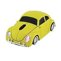 車型ワイヤレスマウス 無線マウス 光学式 ブルーLEDライト車の形状コードレスマウス スーパーカー くるまマウス USBレシーバー付き PC/コンピューター/ノートパソコン用 (イェロー)
