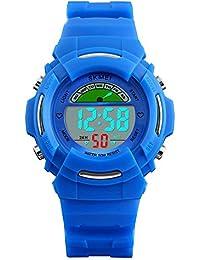 Timever(タイムエバー)子供腕時計 デジタル表示 見やすい 5ATM日常防水 ledライト付き アラーム ストップウォッチ機能 12/24時刻切替え多機能 ボーイズ時計 ブルー