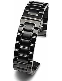 Ajusen 腕時計交換ベルト ウォッチアクセサリー 時計バンド 耐久性 腕時計ストラップ ステンレス製 蝶バックル 高級感 2つ折タイプ蝶バックル 修理工具付き 男女兼用