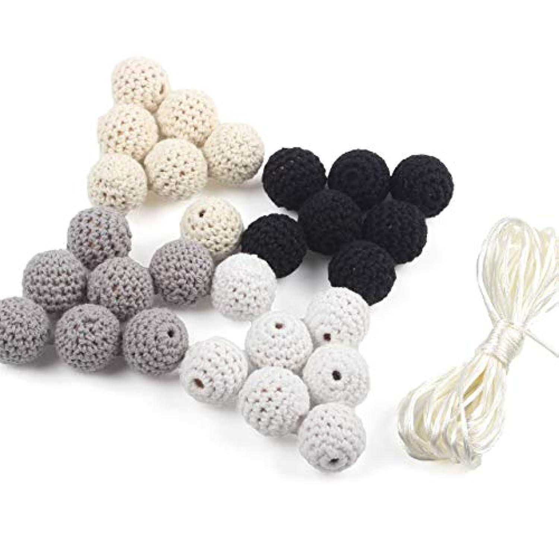 HI BABY MOMENT かぎ針編みの歯ブラシのビーズ50個の20ミリメートルカバー糸の装飾ベビーキャリッジビーズラウンドジュエリーキット B-awcy01