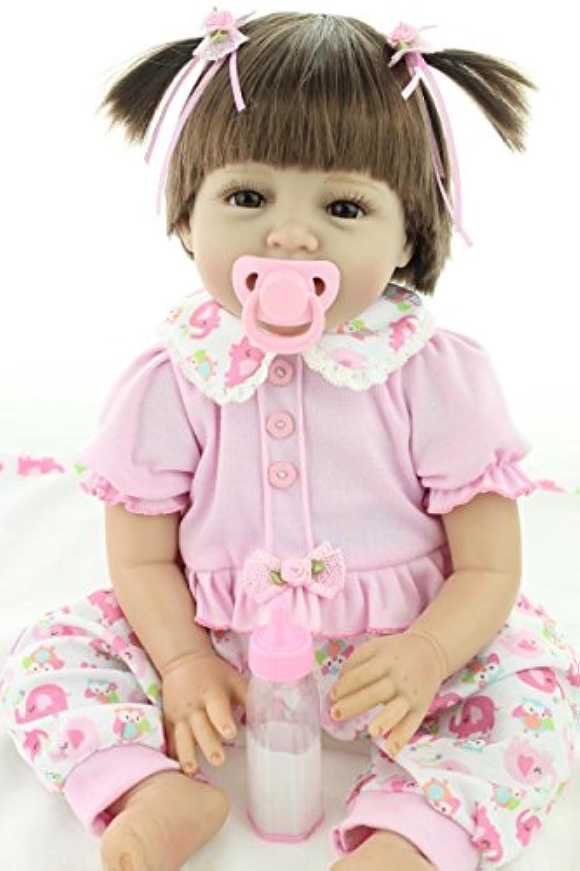 oumeinuo 22 in Handmade Lifelikeガールズベビー人形Reborn新生児人形Siliconeビニール人形+ピンクスカート+磁気おしゃぶり+ボトル