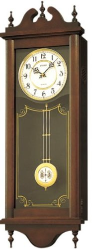 SEIKO CLOCK (セイコークロック) 掛け時計 アナログ 報時選択式 チャイム&ストライク 長尺 飾り振り子 アンティーク調 木枠 茶木地 RQ309A