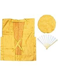 [キョウエツ] ちゃんちゃんこ 黄 単衣 鶴亀甲柄 米寿お祝いセット 3点セット(ちゃんちゃんこ、頭巾、扇子)