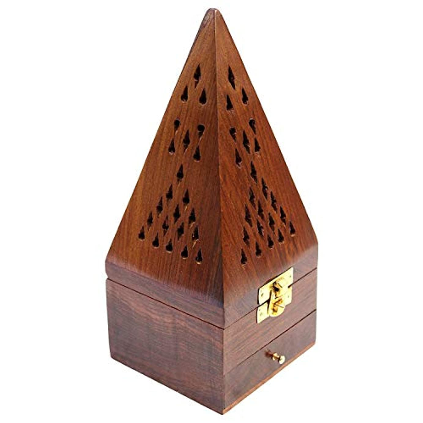 精神州狂ったCraftatoz Wooden Handicrafts Handmade Wooden Incense Sticks Holder Wooden Pyramid Incense Box Fragrance Stand...