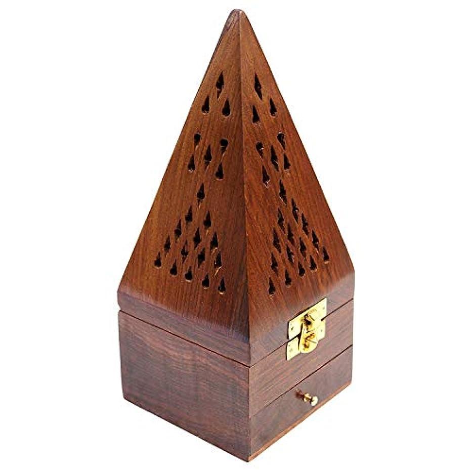 レビューコットン交換Craftatoz Wooden Handicrafts Handmade Wooden Incense Sticks Holder Wooden Pyramid Incense Box Fragrance Stand...
