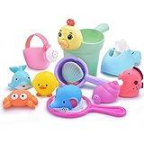 お風呂おもちゃ ZHIYI シャワー プールトイ 水遊びおもちゃ 4点セット 噴水 音だす 漁網 柔らかい おふろおもちゃ 子供 赤ちゃん玩具 男の子 女の子 贈り物 誕生日プレゼント (4セット)