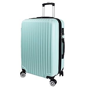 【神戸リベラル】 LIBERAL 軽量 拡張ファスナー付き S,M,Lサイズ スーツケース キャリーバッグ 8輪キャスター TSAロック付き (Sサイズ(1-3泊用 40/50L), ミントグリーン)