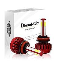 Diesel H8 H11 H16 LEDヘッドライト 車検対応 4面発光 6500K ホワイト 車 LED バルブ 高輝度 8000LM 80W COBチップ搭載 DC12V/24V 車用LEDヘッドライト 冷却ファン付き 2個セット 1年保証