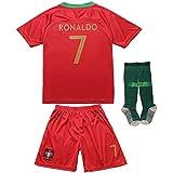 FPF 2018 Portugal Cristiano Ronaldo #7 Home Football Soccer Kids Jersey Short Socks Set Youth Sizes