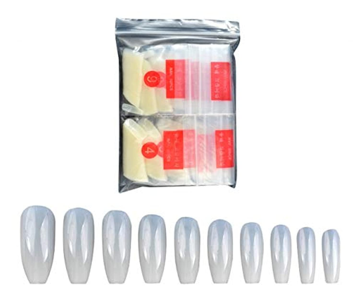 カヌー破裂確認してくださいTianmey 新しいフルカバーナチュラル偽の釘偽ネイルのヒントホームでのフェイクネイルズネイルサロンやDIYネイルアートのための10個のサイズを (Color : Natural color)