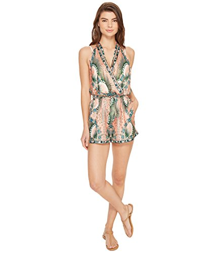 [ニコールミラー] Nicole Miller レディース La Plage By Nicole Miller Tropical Peacock Silk Cover-Up Romper ドレス [並行輸入品]