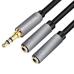音楽シェア BEBONCOOL 3.5mm 3極 オス-メス×2 二股 2分配ケーブル ステレオ ミニ プラグ ケーブル 音量出力分歧 (灰色)
