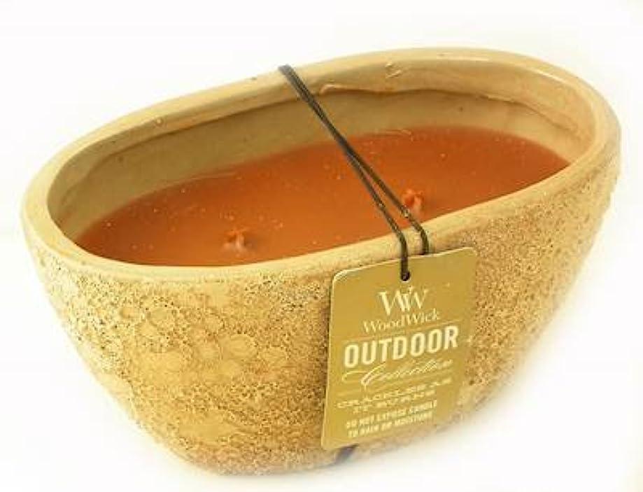 ステープル独立して褒賞レッドウッドTextured Oval WoodWick Scented Candle