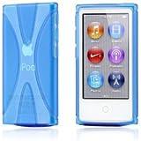 Apple iPod nano 7 デザイン カバー ケース TPU Jelly X Design Case (軽量モデル) アイポッドナノ 2012年 第7世代 iPod nano 7th 対応 + 液晶保護フィルム1枚【Clear X Blue(青)】