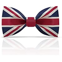 Lanzonia Fashion Union Jack Flag Patterned Bow Tie for Men