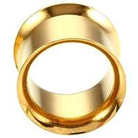 ボディピアス ボディーピアス 埋め込み型 リング 丸型 フレア プラグ トンネル ゴールド コーティング 金色 金メッキ ダブルフレアアイレット/16mm 16ミリ バラ売り プレゼント 耳 人気