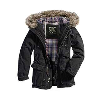 (カリホリ)Cali Holi ミリタリージャケット メンズ 冬 大きいサイズ フード 1122 モッズコート N3B ブラック (S) [並行輸入品]