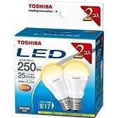 東芝 E-CORE(イー・コア) LED電球 ミニクリプトン形 4.3W (密閉器具対応・フィンレス構造・E17口金・小型電球25W相当・250 ルーメン・電球色)【2個セット】 LDA4L-E17-2P