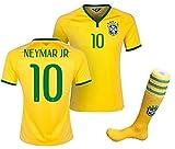 子供用 ブラジル代表 ホーム 2015/16・半袖 サッカーレプリカユニフォーム(シャツパンツソックスセット)・Neymar 10 番 ネイマール (身長135cm 前後)
