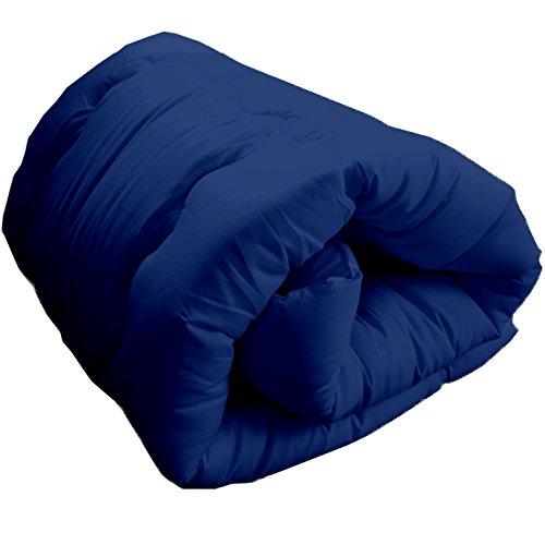 掛布団 増量タイプ ほこりの出にくい布団 洗える布団 シングル (ネイビー) 同色まくら付き 2点セット