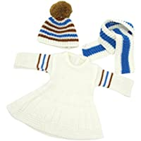 Lovoski 18インチアメリカガールドール人形用 ホワイト セーター ドレス ロングネック スカーフ 帽子