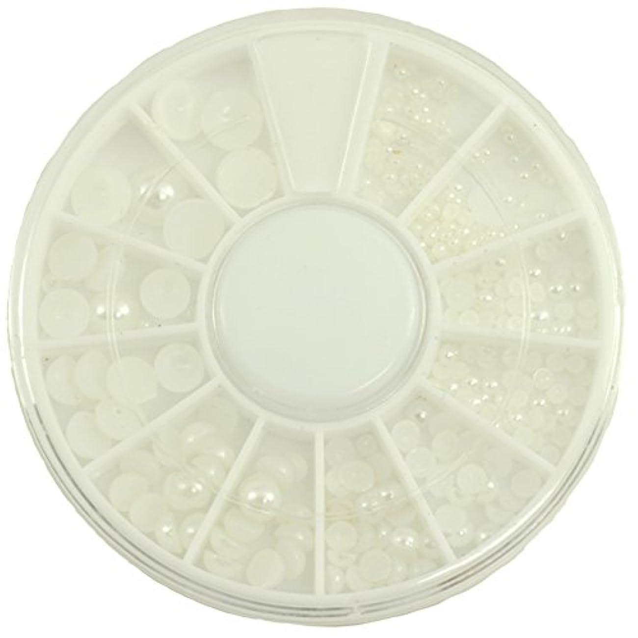 ソファーバン脱臼するネイルパーツ 半円パール ホワイト MIX 7mm5mm4mm3mm2mm1.5mm デコパーツ