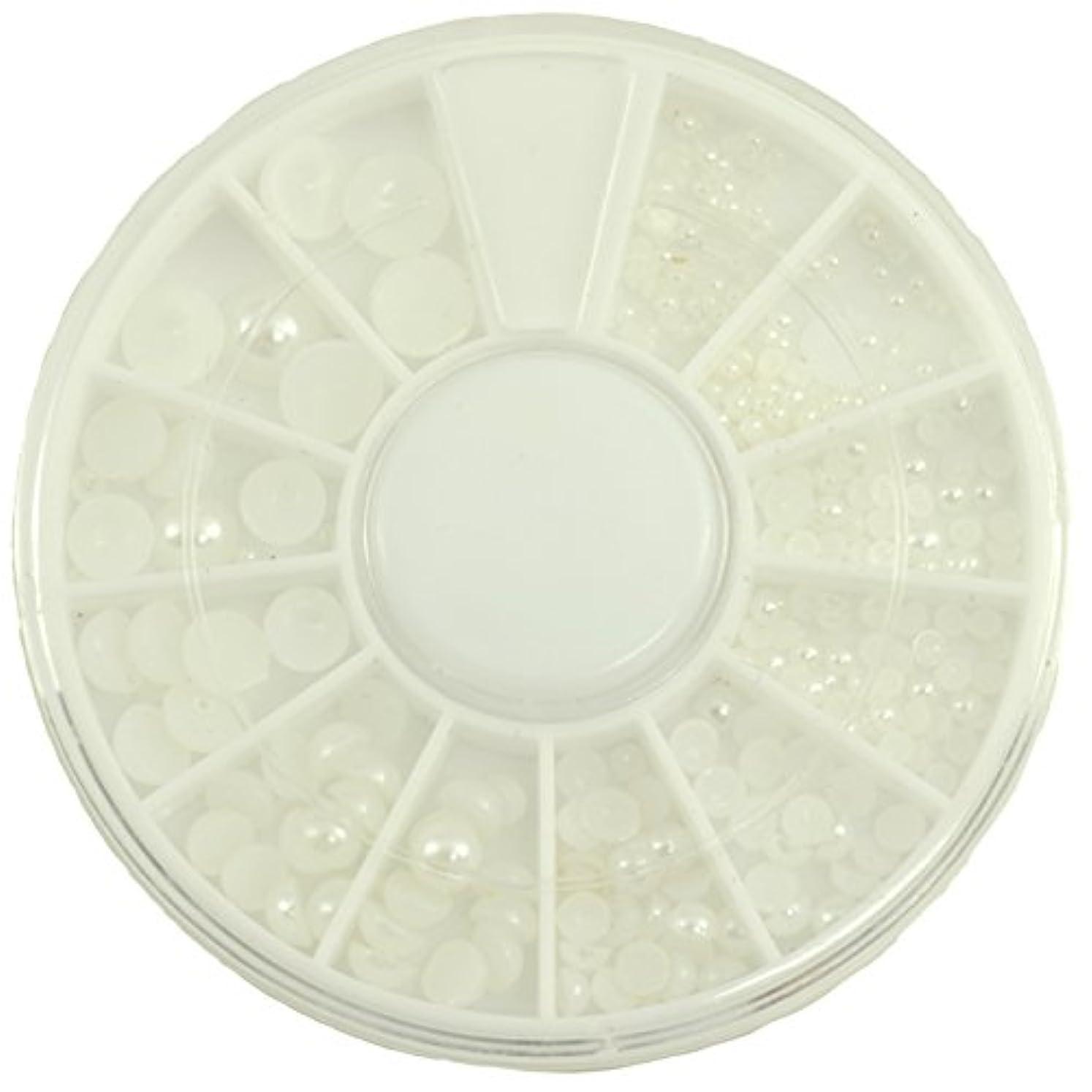 思いつく交じる啓発するネイルパーツ 半円パール ホワイト MIX 7mm5mm4mm3mm2mm1.5mm デコパーツ