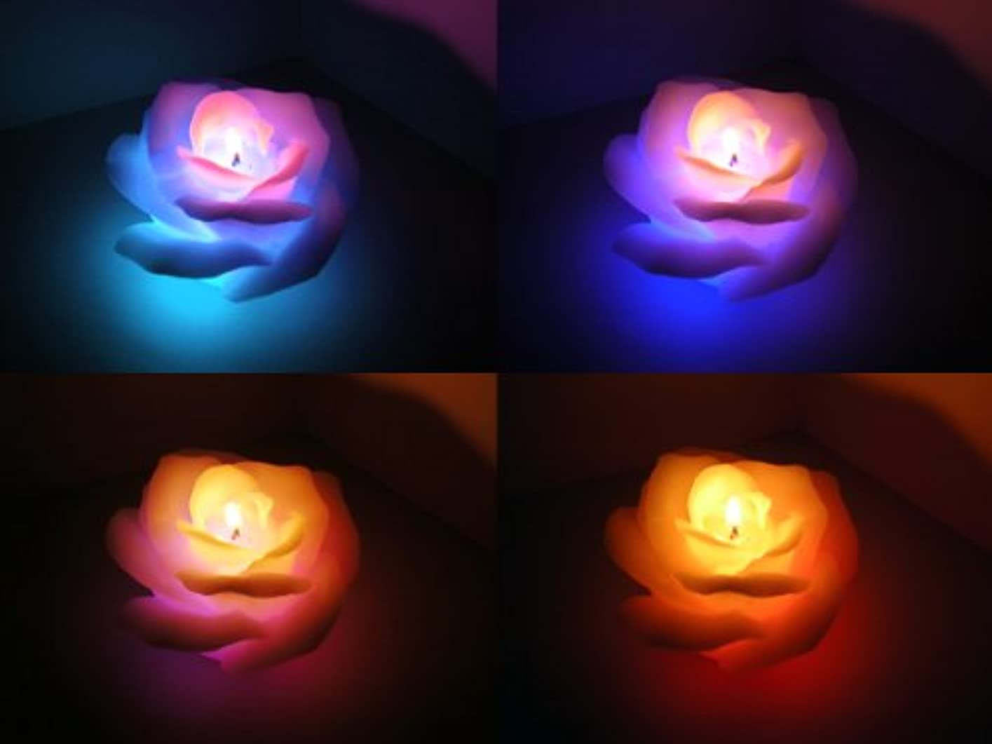ナイロン知性フォアタイプ7色に変化!プレゼントにも!LED内臓キャンドル(バラ)
