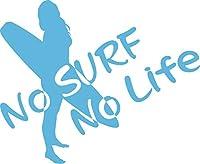 カッティングステッカー No Surf No Life (サーフィン)・11 約160mm×約195mm アイスブルー 空色