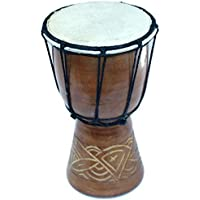 Djembe or Jembe Drum With nature and Animals carving from Jerusalem - Small (19cm or 7.5 Inches high) by Holy Land Market 【Pick Jesus】 [並行輸入品]