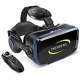 VR ゴーグル VRヘッドセット 「最新型 メガネ 3D ゲーム 映画 動画 Bluetooth コントローラ/リモコン 付き 受話可能4.7-6.2インチの iPhone Android などのスマホ対応 黒 日本語取扱説明書付き (黒) 画像