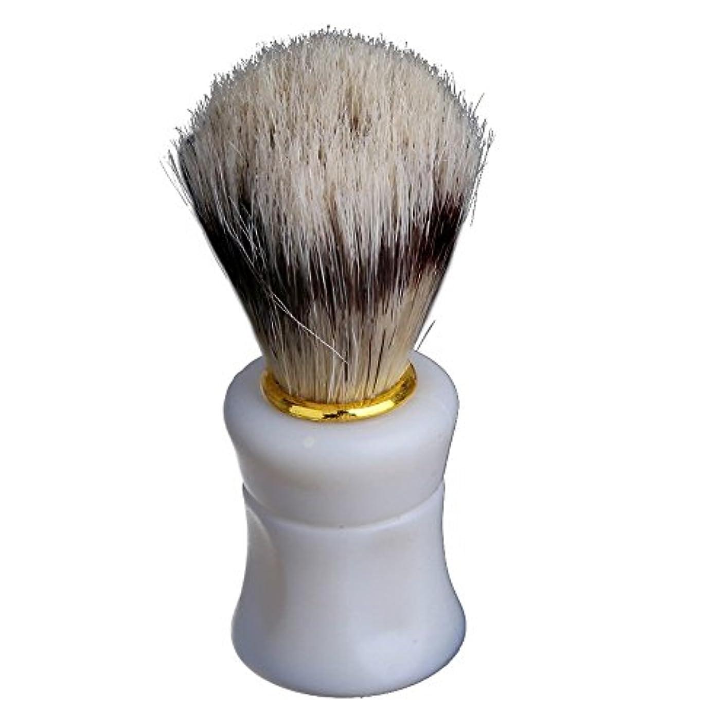 水分ここに欠かせないビアブラシ,SODIAL(R) 1個シェイビングシェービングブラシプラスチック製のハンドル+ブタの猪毛皮のひげの口ひげのブラシホワイト