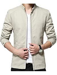 Sodossny-JP メンズカジュアルボンバージャケットウインドプルーフジップフロント屋外野球襟コート