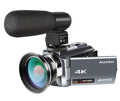 ビデオカメラ Ansteker デジタルビデオカメラ 4K Wi-Fi 4800万画素 外部マイク 超広角レンズ搭載 16倍デジタルズーム 270度回転 3型静電容量タッチパネル ナイトビジョン機能 SDカード(最大64GBまでサポート) 広角レンズ装着可能(HDV-534KM)
