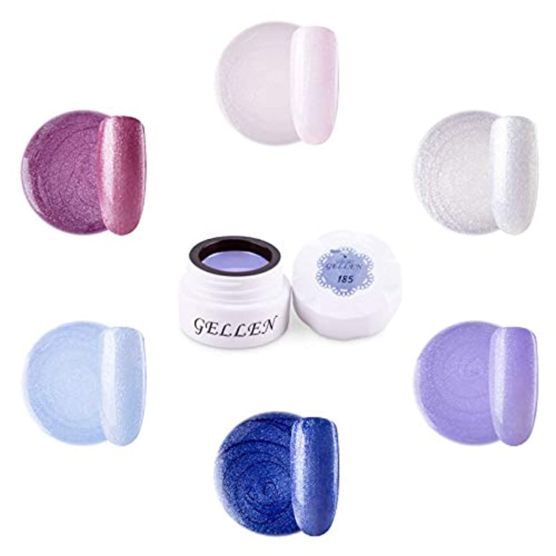 グリル農学道路Gellen カラージェル 6色 セット[パール カラー系]高品質 5g ジェルネイル カラー ネイルブラシ付き