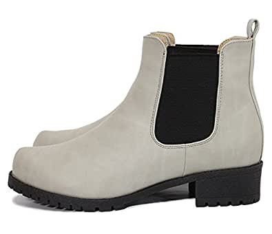 (ルームナイン) Room9 シンプル サイドゴア ブーツ ショートブーツ ハイカット スムース スエード ローヒール/レディース(kk-6124) グレースムース Sサイズ