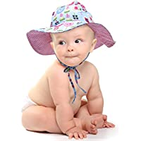 Geyoga Baby Hat Toddler Summer Bucket Hat Kid Wide Brim Sun Protection Hat Children Beach Swimwear Bucket Cap with Chin Strap, Sunflower Pattern