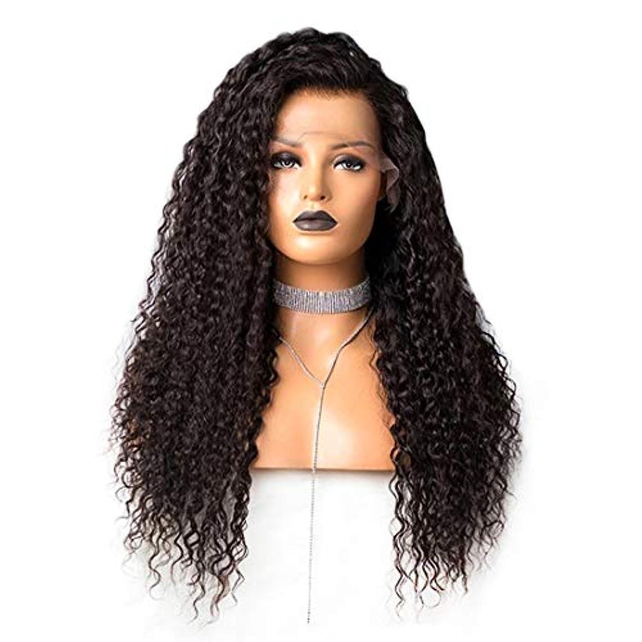 タッチペニー遊び場Koloeplf 女性のための長い緩いカーリー合成かつら黒い色の髪 (Size : 24inch)