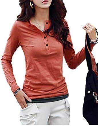 [ヒロハン] Vネック カットソー 長袖 スリム ヘンリーネック Tシャツ トップス レディース シャツ カジュアル 無地 シンプル おしゃれ シルエット キレイ カッコイイ ストレッチ キレイメ 肌着 春 セクシー 女の子 サイズ 春夏 エレガント 春物 フェミニン ガールズ アンダーウェア ユッタリ 綿 女子 大人 やわらか れでぃーす なが袖 赤 紅色 茶色 M レンガレッド