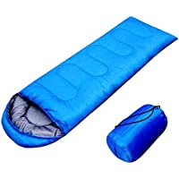 FSDUALWIN 寝袋 シュラフ コンパクト 軽量 封筒型 折りたたみ式 簡単収納 快適使用温度10~15度 耐寒 収納袋付き アウトドア/登山/車中泊/防災/緊急用に グリーン ブル—