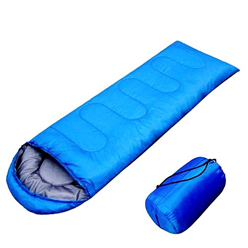 FSDUALWIN 寝袋 シュラフ コンパクト 軽量 封筒型 折りたたみ式 簡単収納 快適使用温度10~20度 耐寒 収納袋付き アウトドア/登山/車中泊/防災/緊急用に グリーン ブル— (ブルー)