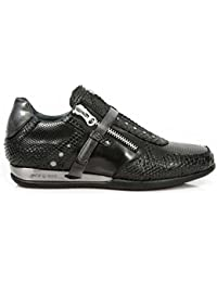 New Rock Shoes - Men's Black Hybrid Snake Skin Leather Shoes