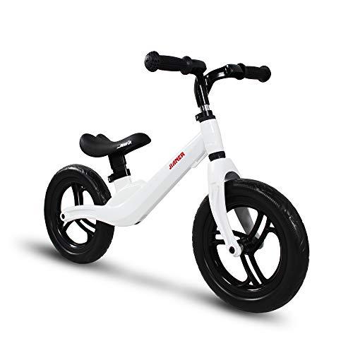 COEWSKE 12インチ ペダルなし自転車 子供用 キッズ トレーニングバイク マグネシウム合金 軽量 ペダルなし 2〜5歳 ウォーキング自転車 (ホワイト)