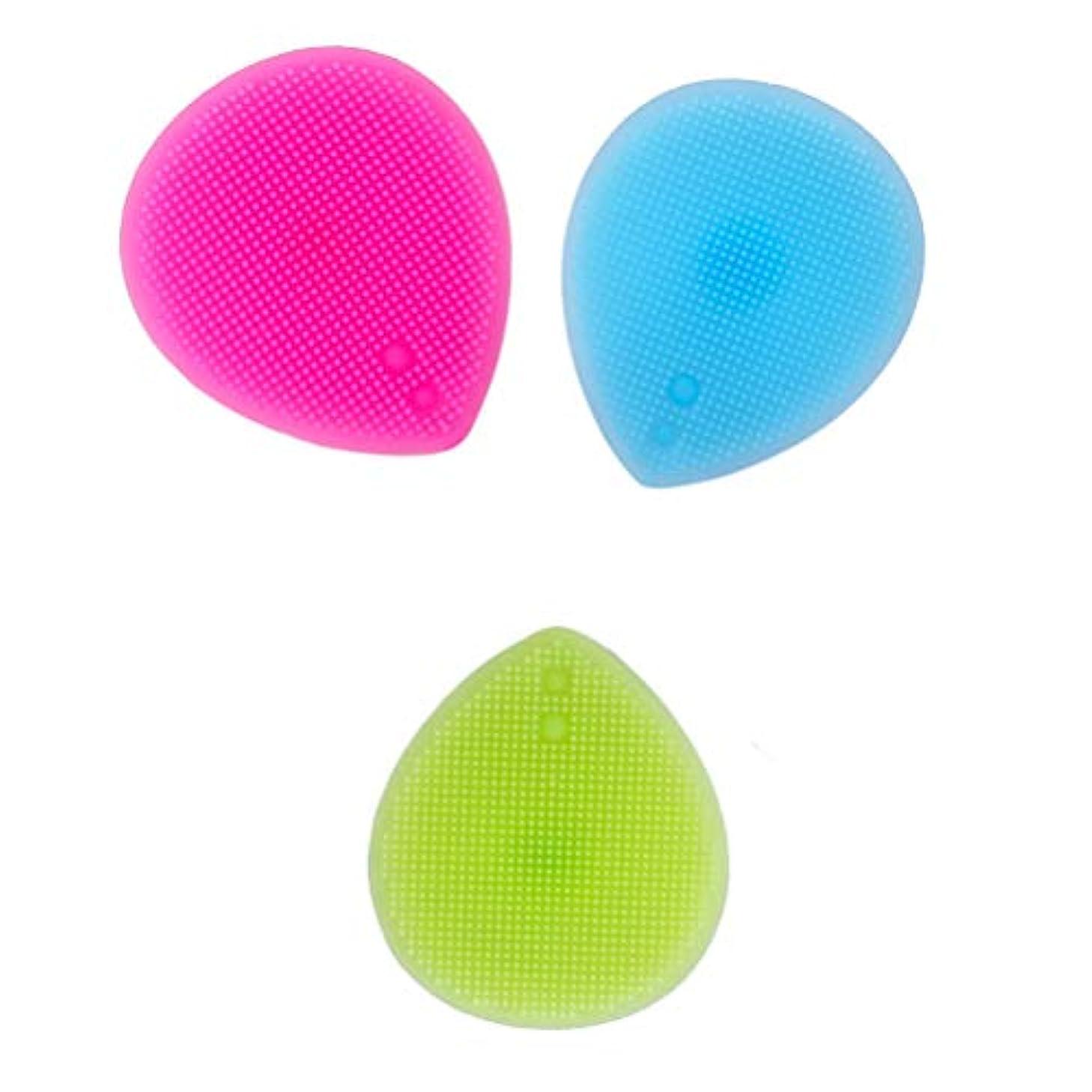 Lurrose 3PCSシリコーンフェイシャルクレンジングブラシ手動フェイシャルマッサージブラシ女性用(ブルー+バラ色+グリーン)