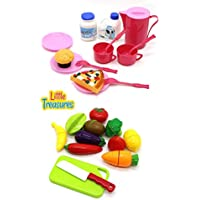 [リトルトレジャー]Little Treasures 2 in 1 mini food meal serving set for kids 3+ Invite early dramatic play, build [並行輸入品]
